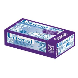 Universal Vinyl Powder Free Premium Blue Glove Small 100 Pack