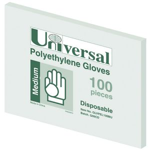 Universal Polyethylene Gloves Medium 100 Pack