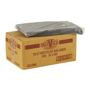 MaxValu Recycled Bin Liner 78L Black 250 Pack