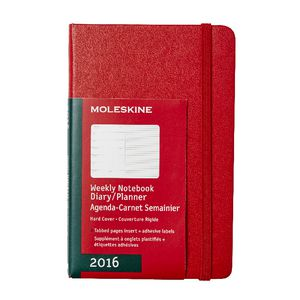 Moleskine 2016 Hard Cover Pocket Weekly Notebook Scarlet Red