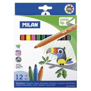 Milan Cone-Tipped Water Based Fibre Pens 12 Pack
