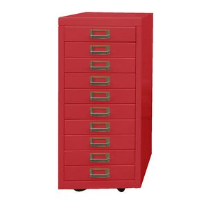 Spencer 10 Drawer Cabinet with Wheels Red