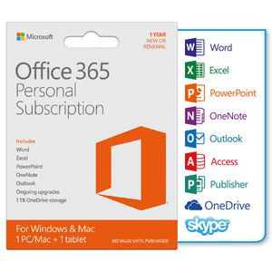 Microsoft Office 365 Personal 1 Device 12 Months Card
