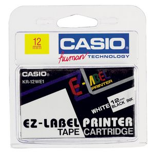 Casio EZ Black on White Tape 12mm x 8m