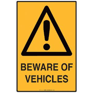 Mills Display Beware of Vehicles Sign 300 x 450mm