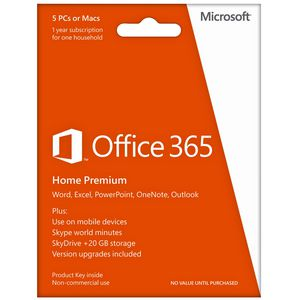 Microsoft Office 365 Home Premium Product Key Card 1 year