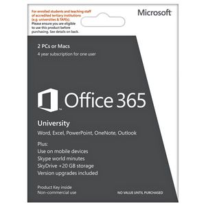 Microsoft Office 365 University 2 PC/Mac 4 Years Card