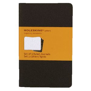 Moleskine Cahier Pocket Ruled Notebook Black 3 Pack