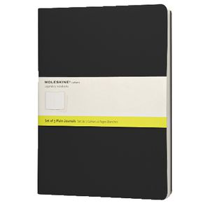 Moleskine Cahier Extra Large Notebook Plain Black 3 Pack