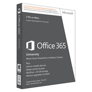 Microsoft Office 365 University 2 PC/Mac 4 Years Box