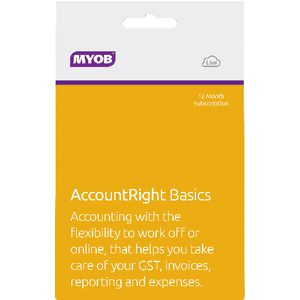 MYOB AccountRight Basics 1 PC 12 Months Card