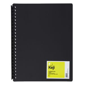 Keji Display Book A4 20 Pocket Refillable Light Weight Black