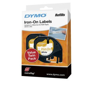 DYMO LetraTag Iron On Tape 12mm Black on White 2 Pack