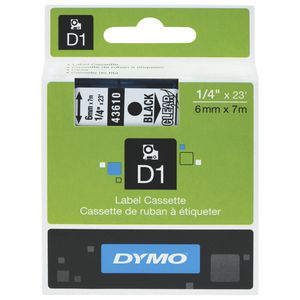 DYMO D1 Label Printer Tape 6mm x 7m Black on Clear