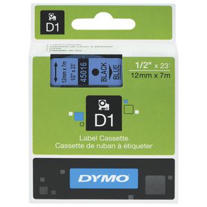 DYMO D1 Label Printer Tape 12mm x 7m Black on Blue