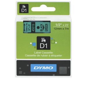 DYMO D1 Label Printer Tape 12mm x 7m Black on Green