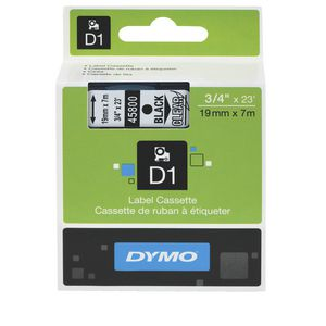 DYMO D1 Label Printer Tape 19mm x 7m Black on Clear