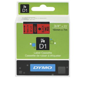 DYMO D1 Label Printer Tape 19mm x 7m Black on Red
