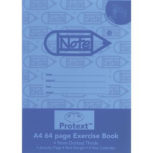 Protext A4 Exercise Book 9mm Dotted Thirds 64 Page Blue