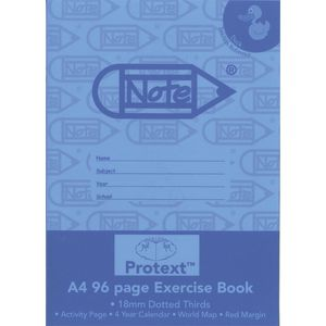 Protext A4 Exercise Book 18mm Dotted Thirds 96 Page Blue