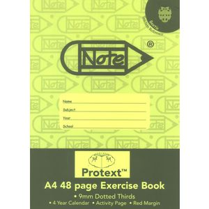 Protext A4 Exercise Book 9mm Dotted Thirds 48 Page Green