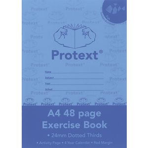 Protext A4 Exercise Book 24mm Dotted Thirds 48 Page Blue