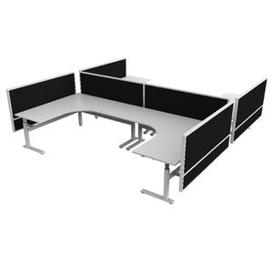 OLG Studio50 Highrise 90 degree Workstation H Layout Black