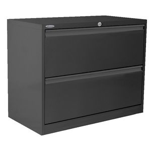 Steelco 2 Drawer Lateral Cabinet Graphite Ripple