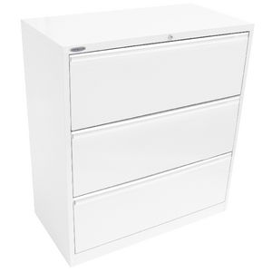 Steelco 3 Drawer Lateral Cabinet White Satin