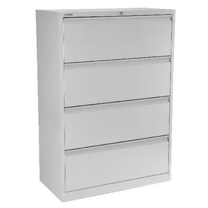 Steelco 4 Drawer Lateral Cabinet Silver Grey