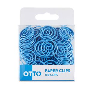 Otto Brights Paper Clips Blue 100 Pack