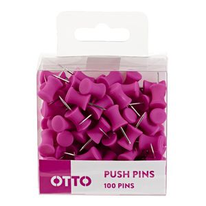 Otto Brights Push Pins 100 Pack Pink
