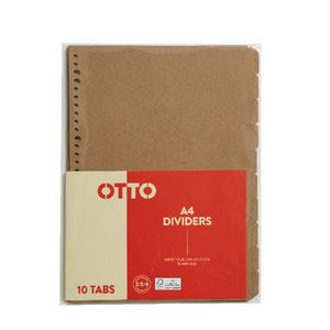 Otto Index Dividers A4 Kraft 10 Pack