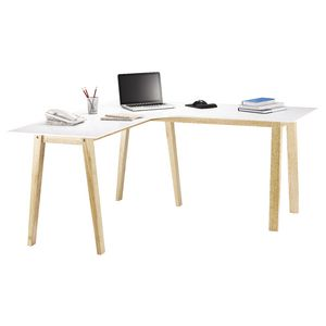 Linear Corner Workstation Oak and White