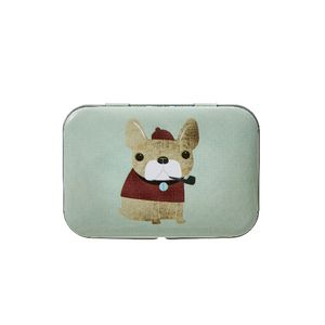 Metal Stationery Tin Dog Green