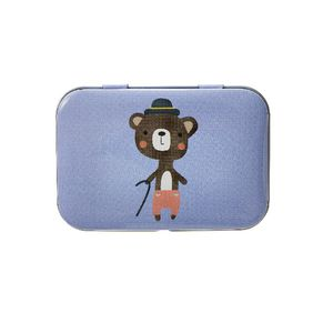 Metal Stationery Tin Bear Purple