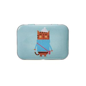 Metal Stationery Tin Cat Blue