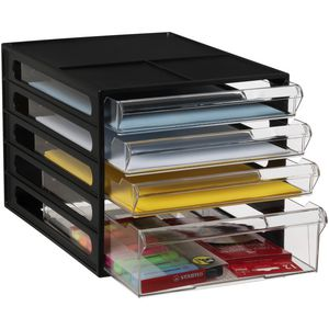 J.Burrows Desktop File Storage Organiser 4 Drawer Black