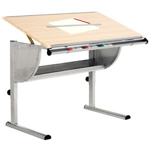 Hummingbird Griffin Drafting Table Beech and Chrome