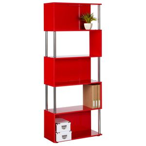 Hummingbird Hayes Chrome & Gloss Bookcase Red