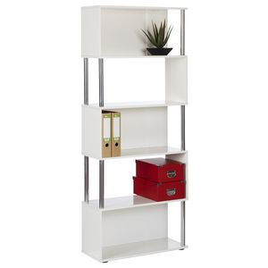 Hummingbird Hayes Chrome & Gloss Bookcase White