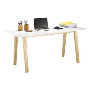 Linear Desk in Oak and White