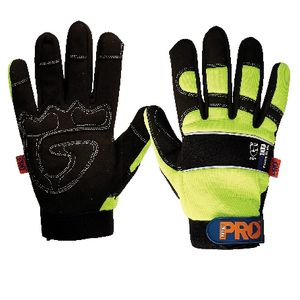 ProChoice ProFit Full Finger Hi Vis Gloves Yellow Large