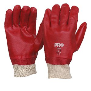 ProChoice PVC Knitted Wrist Single Dip Gloves Red