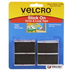 Velcro Stick On Tape 25x50mm Black 6 Pack