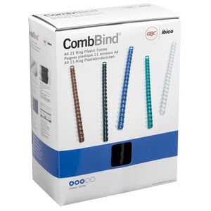 GBC Binding Comb 21 Loop Plastic 19mm Black 100 Pack