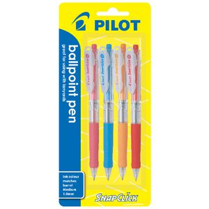 Pilot Snapclick Retractable Ballpoint Pen 1.0 Fashion 4 Pack