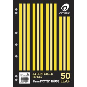 Olympic A4 Reinforced Binder Refills Dotted Thirds 50 Pack