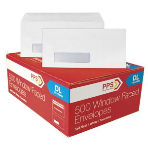 PPS Window Faced DL White Envelopes Box of 500