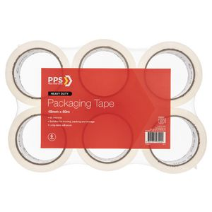 PPS Move 48mm x 50m Clear Packaging Tape 6 Pack